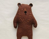 Strange Woodland Soft Creature Kids Gift - Weird Brown Stuffed Bear Plushie baby shower gift - Embroidered Animal toy for Kids, bithday gift
