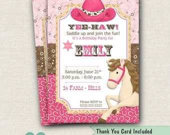 Cowgirl Birthday Invitation Printable - Pink Shabby Cowgirl Birthday Invitation - Horse Birthday Invite - Western Party Invite