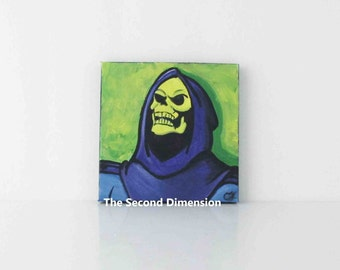 Skeletor MOTU Mini Art Painting Acrylics Masters Of The Universe Classic 1980s Cartoon - 4 x 4 Inches