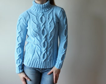 Knit Sweater Jumper Pullover, Womens Sweater, Long sweater pullover, Cable design, Light blue with Long sleeves