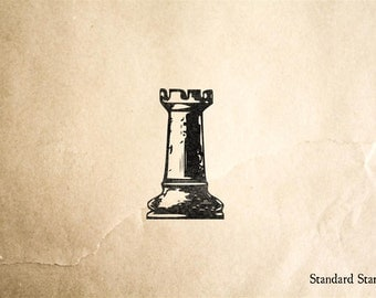 Vintage Chess Rook Rubber Stamp - 1 x 2 inches