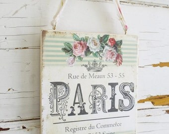 Shabby Rose Paris Plaque, Paris Sign French, French Shabby Rose Plaque