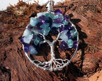 Tree of Life Pendant, AquamarineTree, ApatiteTree, Amethyst Tree, Sterling Silver Necklace, Wrapped Wired Tree, Gemstone Tree, Gift for Her