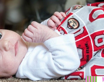 OSU Red White and Gray Long-Sleeved NEWBORN 3 mos 6 mos Girl or Boy Layette Gown Coming Home Outfit