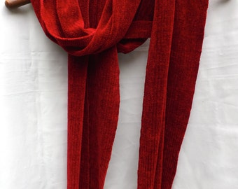 Ruby Red Handwoven Chenille Scarf for Men or Women, Rayon Chenille
