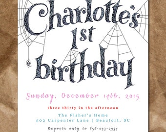 Charlotte's Web Inspired Birthday Invitation