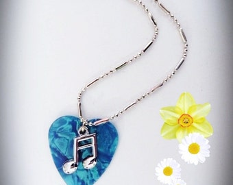 Music Note Guitar Pick Necklace, Silver semiquavers, Turquoise Pearl, Genuine guitar pick, Pearlised Guitar Pick, Christmas gift idea