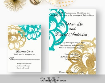 Gold and Robin's Egg Blue Wedding Invitations, Gold Glitter Floral Invites, Robin's Egg Blue Weddings - -Jessica Lee - DEPOSIT