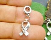 2pcs- Cancer Awareness Charms - Antique Silver Dangle Charms Pendants for  European style Bracelet -EC048