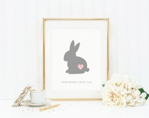 Bunny Print, Nursery Art Print, Nursery Typography with Quote, Some Bunny Loves You in Pink and Grey