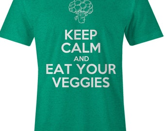 Keep Calm and Eat Your Veggies - Vegetarian T Shirt - American Apparel Mens Poly Cotton T-Shirt - Item 1771