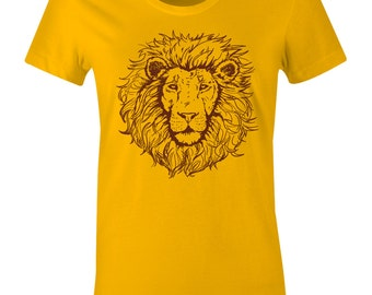 Women's Lion Head T Shirt - King of The Jungle Tee Shirt - Maroon Ink - American Apparel Women's Poly Cotton T-Shirt - Item 1800