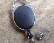 Carabiner retractable badge reel black and chrome,Lanyard accessory,Mens unisex simple, ID holder,Cool ID holder,Backpack accessory,Sport