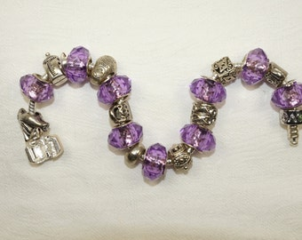 On Sale, Purple Charm Bracelet, Reduced from 38.00