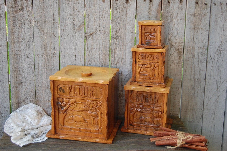 wood canister set mid century vintage carved set of