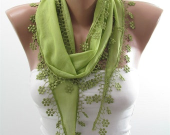 Cotton Scarf Green Scarf Shawl Cowl Scarf with Lace Edge Lightweight Summer Scarf Women Fashion Accessories Christmas Gift Ideas For Her
