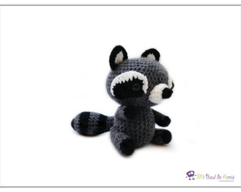 Crochet Grey Black Raccoon Amigurumi - Woodland Stuffed Toy - Forest Animal Plushie - READY TO SHIP