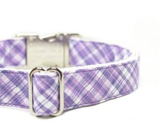 Purple Tartan Dog Collar Lavender Plaid Dog Collar