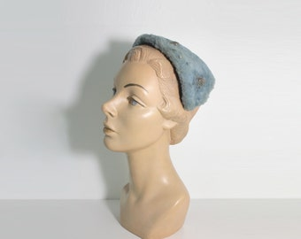 1950s Blue Rhinestone Half Hat by Gimbel Brothers
