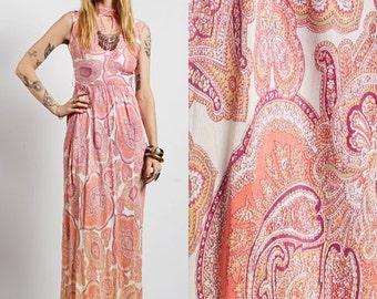 Vintage 60s pastel PAISLEY gypsy boho hippie keyhole SWEEPING maxi DRESS