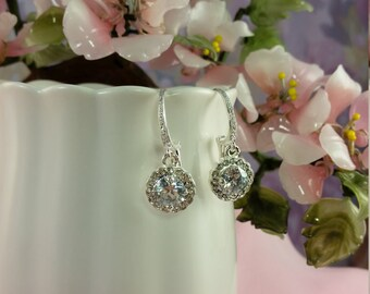 CZ Wedding Earrings, Sparkly Earrings, Brides and Bridesmaids, Bridal Party Jewelry, Prom Earrings, Anniversary Gift, Wedding Jewelry, E2018