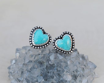 Turquoise Heart Earrings - Turquoise Heart Studs - Turquoise Studs
