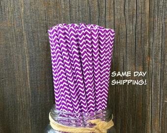100 Purple Chevron Straws, Birthday Party, Cake Pops Supply, Free Shipping!