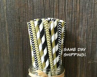 100 Black and Gold Striped, Chevron Straws, Wedding, Anniversary, Gala Event, Free Shipping!