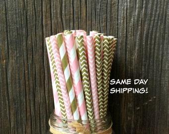 100 Pink and Gold Striped, Chevron Straws, Wedding, Birthday, Baby Shower