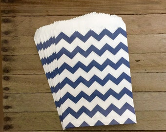 48 Navy Favor Bags--Chevron Favor Bags--Candy Favor Bags--Chevron Goodie Bags--Navy Chevron Party Sacks--Birthday Treat Sacks