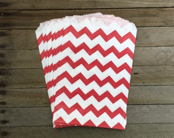 48 Red Favor Bags--Chevron Favor Bags--Candy Favor Bags--Chevron Goodie Bags--Red Chevron Party Sacks--Birthday Treat Sacks