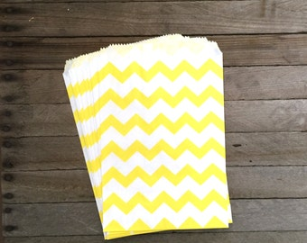 48 Yellow Favor Bags--Chevron Favor Bags--Candy Favor Bag--Chevron Goodie Bags--Yellow Chevron Party Sack--Birthday Treat Sacks