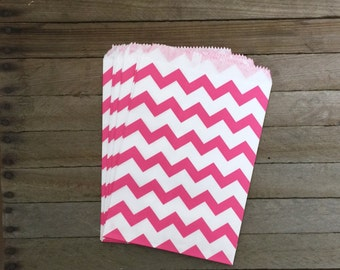 48 Hot Pink Favor Bags--Chevron Favor Bags--Candy Favor Bags--Chevron Goodie Bags-- Chevron Party Sacks--Birthday Treat Sacks