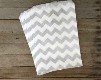 48 Silver Favor Bags--Chevron Favor bags--Candy Bags--Chevron--Goodie Bags--Silver Chevron Party Sacks--Birthday Treat Sacks