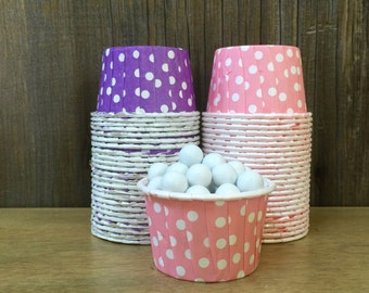 48 Purple and Pink Polka Dot Candy Cups--Nut Cups--Birthday Party--Baby Shower--Paper Party Goods--Pink and Purple Portion Cups