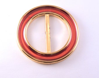 "2"" Vintage Gold Plastic Circular Sash Buckle With Dark Red Inlay - Woman's Belt Buckle #B-17-12"