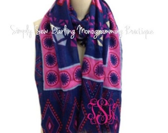Monogrammed Embroidered Navy and Pink Multi Color Circles Scarf