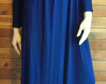 Vintage 1970s Jill Richards /Silver Key Neiman Marcus Navy Blue Sz 6 Maxi Dress