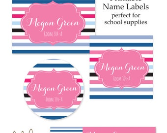 Back to School Name Label Set | Printable | Personalized Name Labels for School Supplies | School Supply Labels | Pink Preppy Stripe