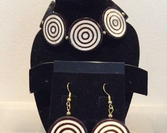 Adinkrahene Bracelet & Earring Set, Adinkra Symbol, Adinkra Jewelry, Adinkra Bracelet, Adinkra Earrings, African Jewelry Set