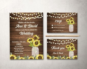 Rustic Wedding Invitation Sunflower Wedding Invitation Printable Wedding Invitation Suite, Mason Wedding Invitation Set barn Wedding Invite
