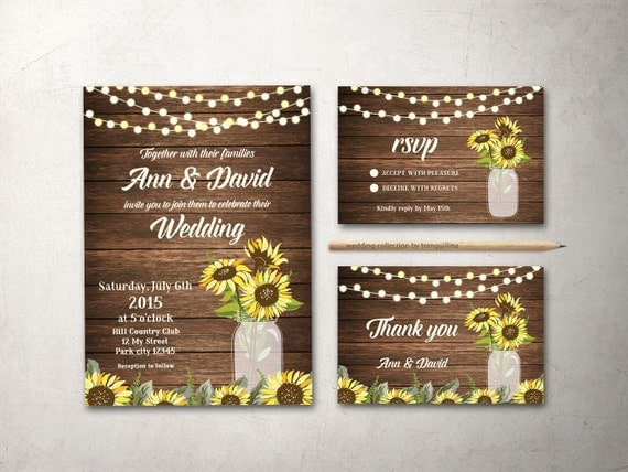 Rustic Wedding Invitation Printable, Wedding Invitation Suite, Mason Jar Wedding Invitation, Sunflower Wedding Invite, Fall Country Wedding