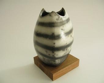 Open Seed Pod, Rounded Triangular Raku Vessel with Smoke Resist Lines