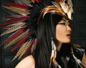 Headdress / Feather Mohawk/ Warrior Headdress/ Burning Man Headdress/ Horned Headdress/ Tribal Headdress/ Skull Headdress