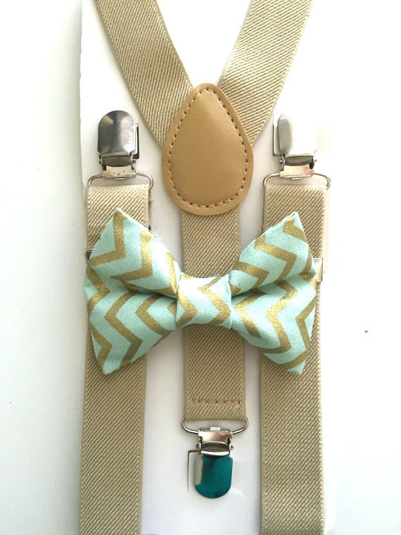 Tan Suspenders and Mint Chevron Bow Tie