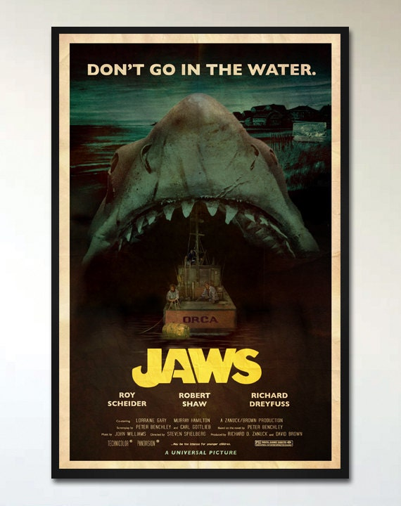 Jaws // Retro Alternative Movie Poster Print // 1970s ...