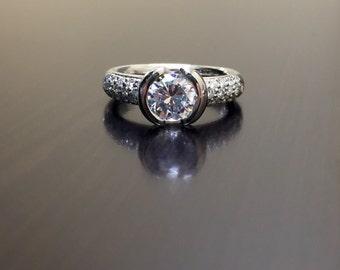 Platinum Pave Diamond Engagement Ring - Platinum Diamond Wedding Ring - Modern Diamond Platinum Ring - Pave Diamond Ring - Modern Ring