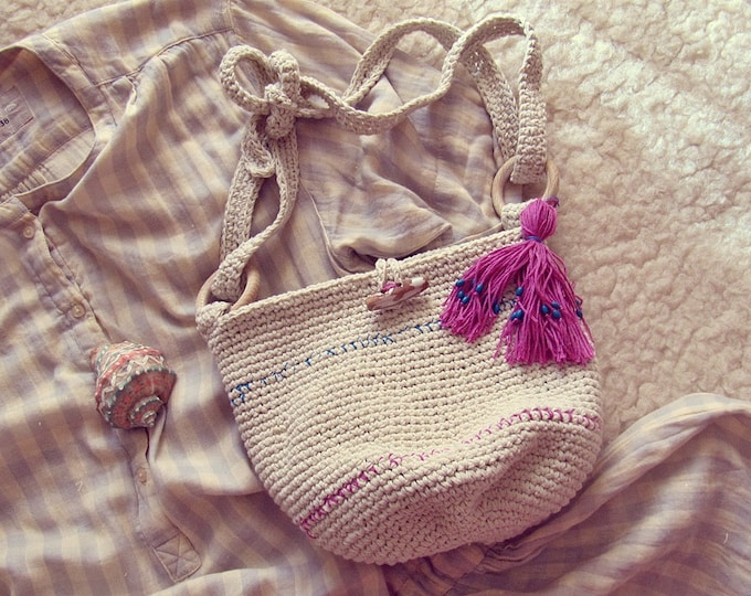 Boho Crossbody Bag - Hobo Shoulder Bag - Bohemian Hippie - Cotton Bag - Vegan Hipster - Gypsy Tassel Bag - Boho Gift for Her