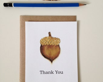 Thank You Card // Acorn // Thank You Note // Fall Thank You Card // Acorn Thank You Note