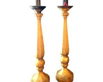 Late 19th C. Gilt Wood Candleholders - A Pair
